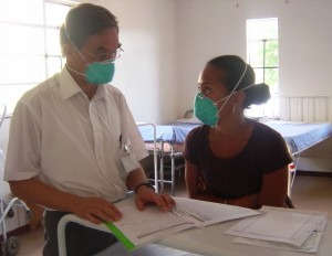 Physicians wear masks to prevent the spread of TB